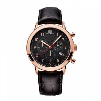 88 Rue Du Rhone Rose Plate & Brown Leather Strap Chronograph Watch
