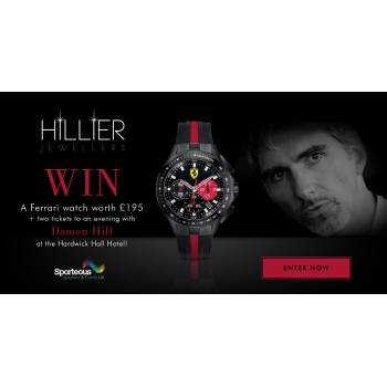 Win a Ferrari watch worth £195 + 2 tickets to a charity evening with Damon Hill worth £160!