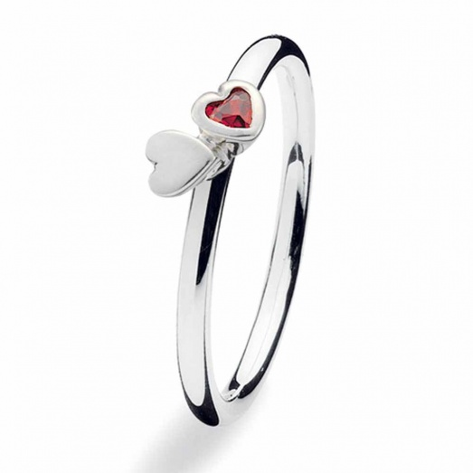 Silver Kissing Hearts CZ Ring 139-06