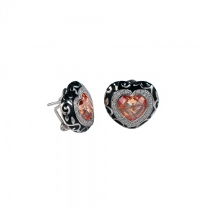 Belle Etoile Royale Collection - Silver, Black Enamel and Heart Shaped Cubic Zirconia Stud Earrings