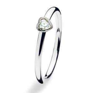 Spinning Jewelry Silver Heart CZ Ring 126-00