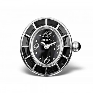 Timebeads Black Oval Dial Enamel Set Bezel Screw Bead TB1008BK-S