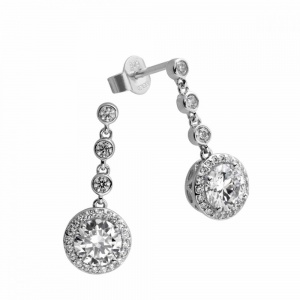 Diamonfire Silver Cubic Zirconia Cluster Drop Earrings 62-1463-1-082