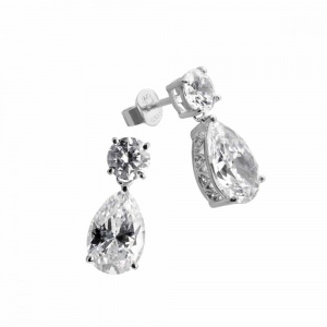 Diamonfire Silver Cubic Zirconia Tear Drop Earrings 62-1480-1-082