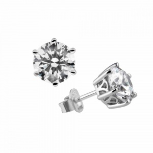 Diamonfire Silver Cubic Zirconia Solitaire Earrings 62-1268-1-082