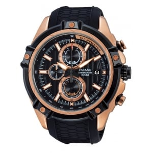 Pulsar Men's Rose Plate Chronograph Watch PV6002X1