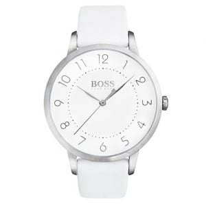 Hugo Boss Ladies' S/Steel Plate White Leather Eclipse Watch 1502409