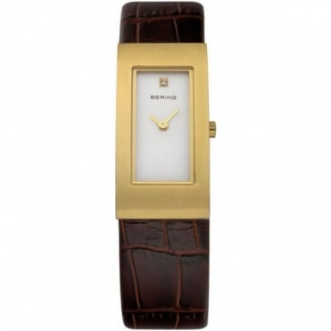 Bering Ladies Classic G/Plate Brown Leather Watch 10817-534