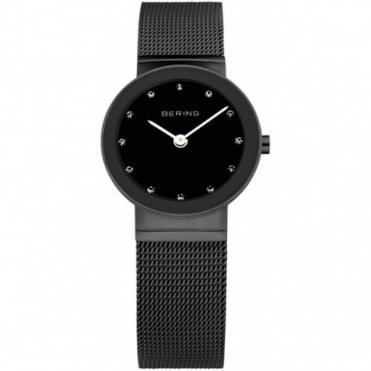 Bering Ladies Classic Black Steel Watch 10126-077