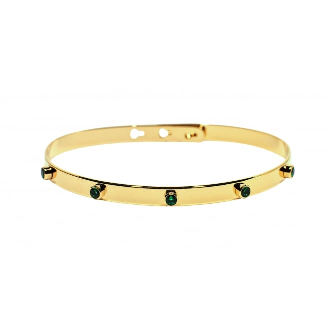 5 Stones (Green) Gold Bangle JP-06.G