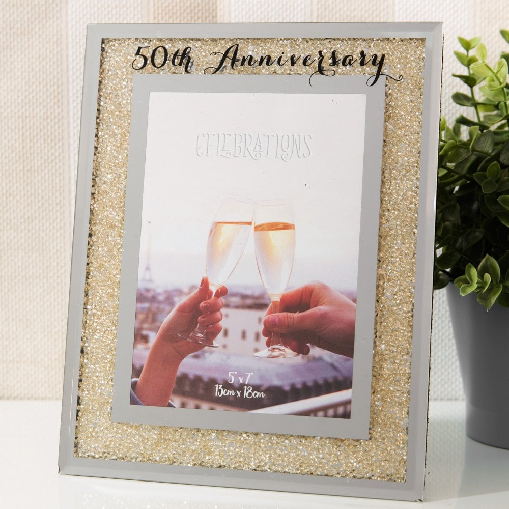 50th Golden Wedding Anniversary 5x7 Crystal Photo Frame Giftware
