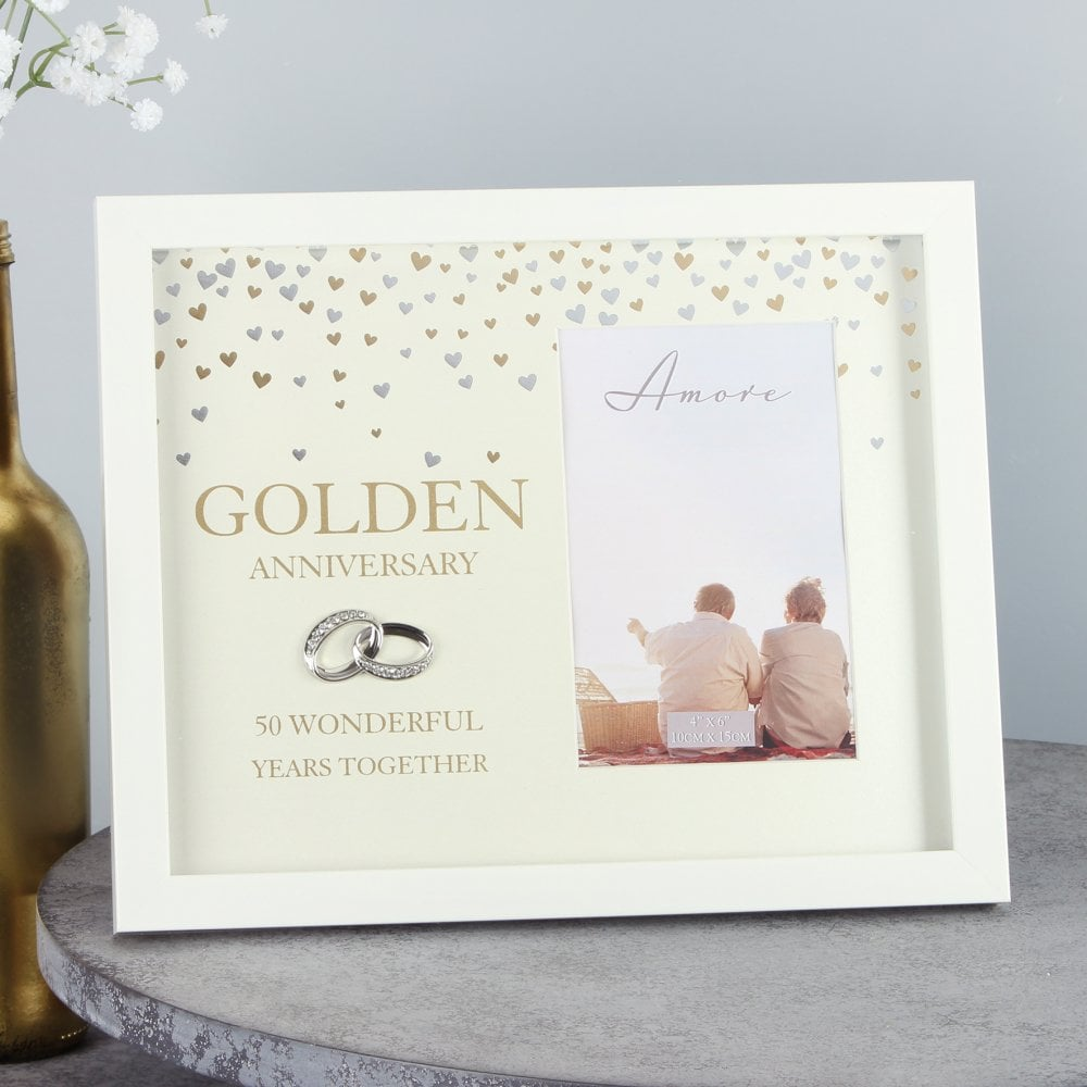 50th golden wedding anniversary photo frame. Black Bedroom Furniture Sets. Home Design Ideas
