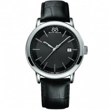 88 Rue Du Rhone Gents' Stainless Steel Black Leather Strap Watch 87WA130010