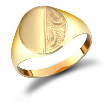9ct Gent's Patterned Oval Signet Ring