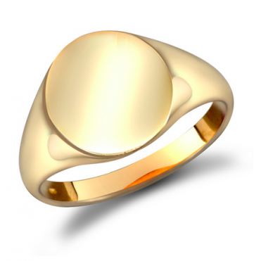 9ct Gent's Plain Oval Signet Ring