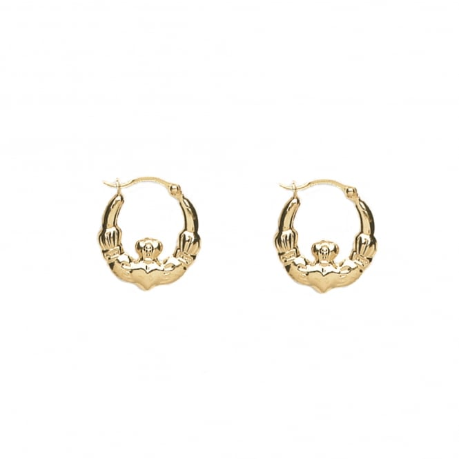 9ct Gold Claddagh 24mm Creole Earrings