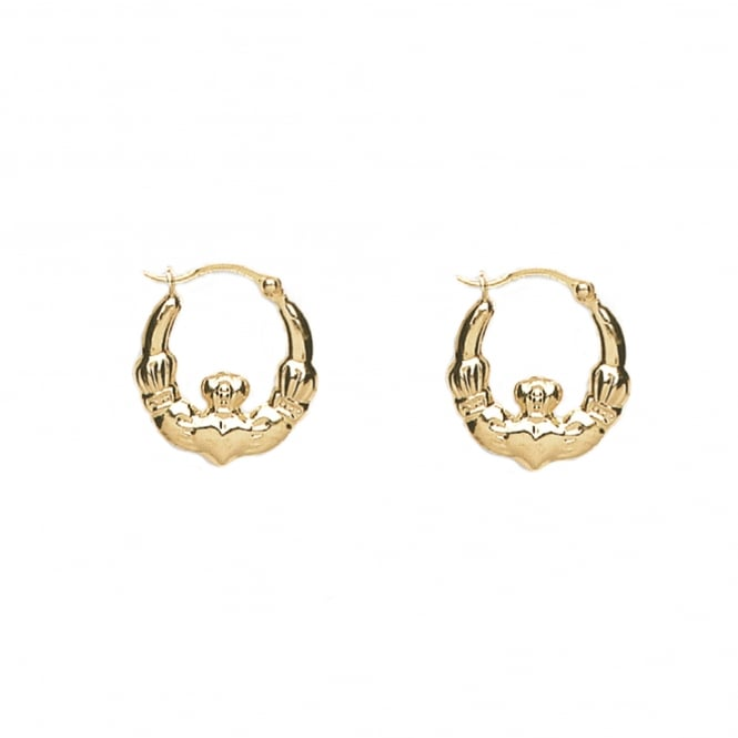 9ct Gold Claddagh 33mm Creole Earrings