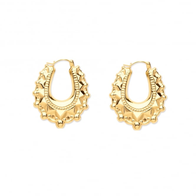 9ct Gold Oval Victoria Spike 29mm Creole Earrings