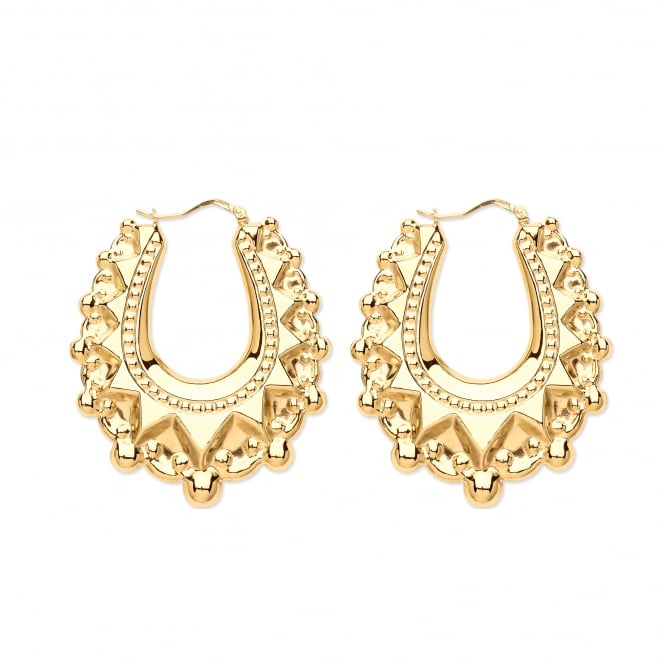 9ct Gold Oval Victoria Spike 49mm Creole Earrings