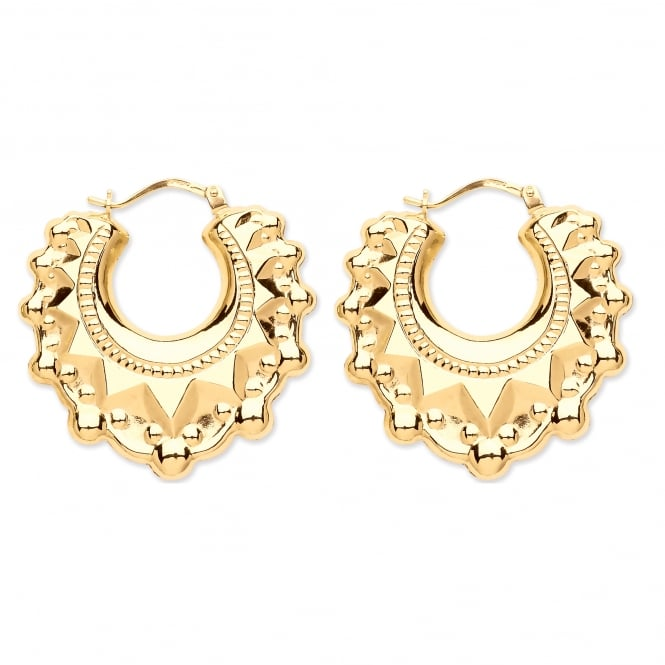 9ct Gold Victoria Spike 29mm Creole Earrings