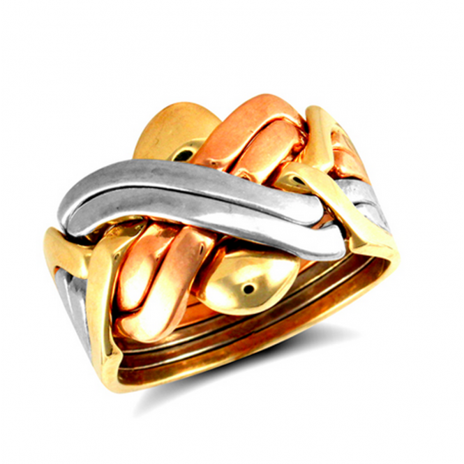 9ct Multi Colour Gold 6 Piece Puzzle Ring