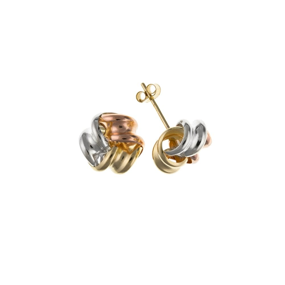 ce484a5c1 9ct Multi Colour Gold 8mm Knot Earrings - Jewellery from Hillier ...