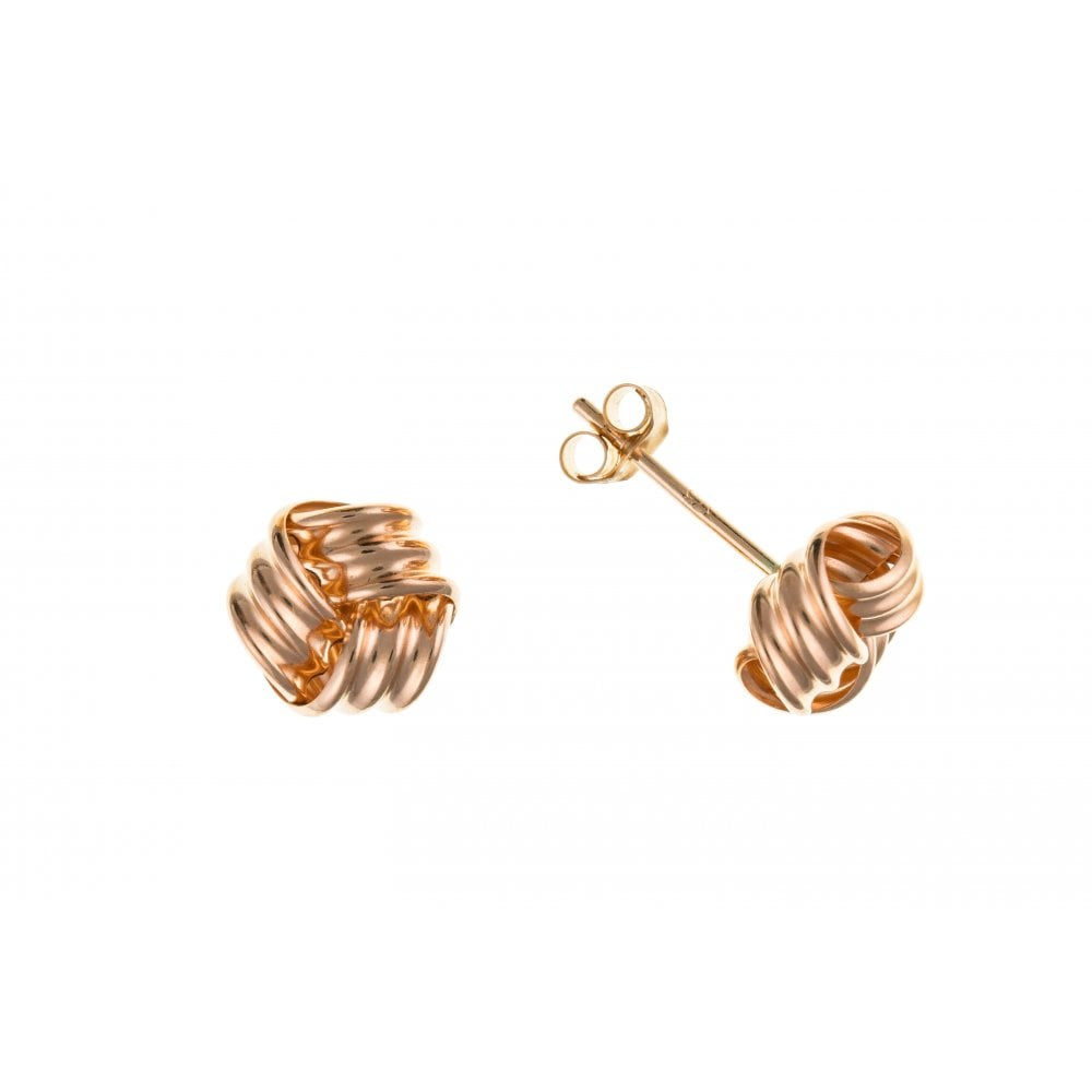 c49872008 9ct Rose Gold 8mm Knot Earrings - Jewellery from Hillier Jewellers UK