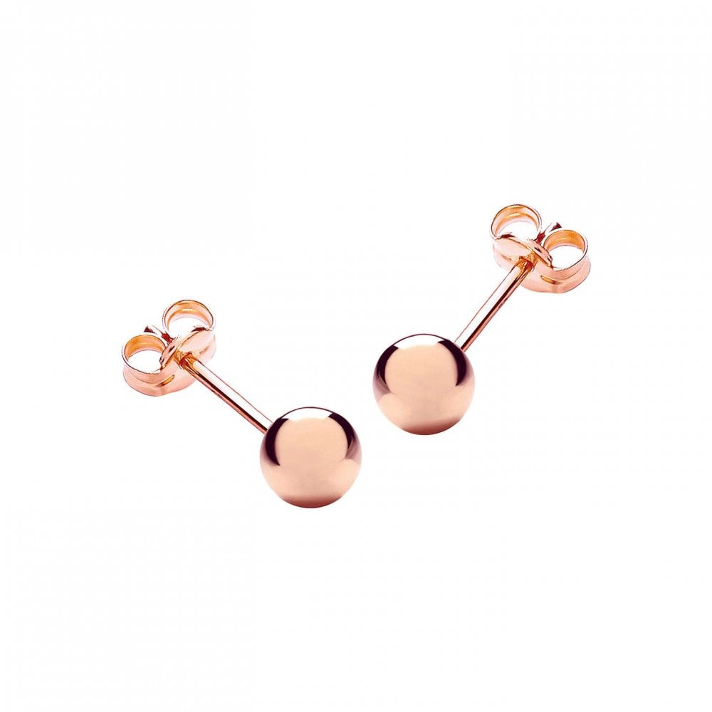 9ct Rose Gold Ball Stud Earrings 3mm - 8mm We6LK