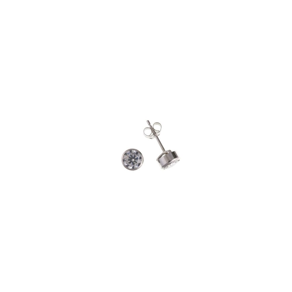 7304f1470 9ct White Gold 3mm Rub Over Cubic Zirconia Stud Earrings - Jewellery ...