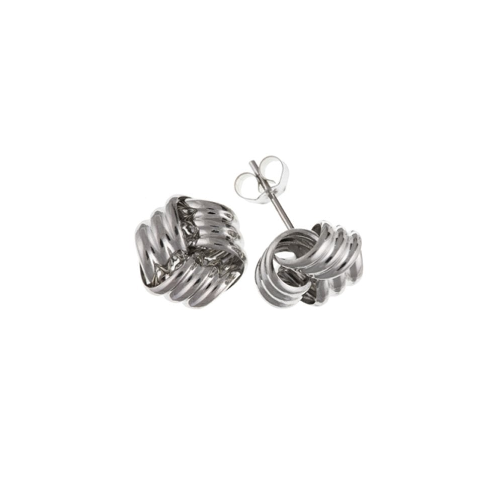 65917e288 9ct White Gold 8mm Knot Earrings - Jewellery from Hillier Jewellers UK