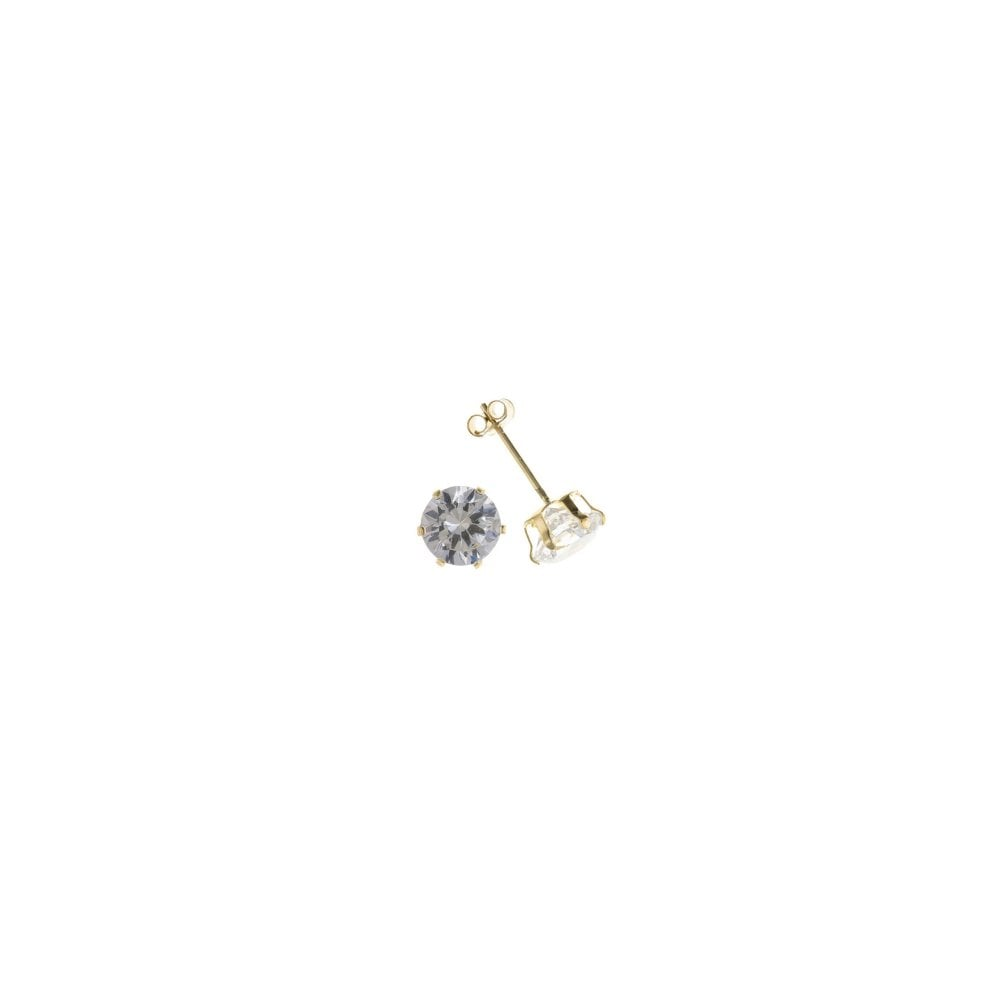 55f2cc8b2 9ct Yellow Gold 3mm Round Cubic Zirconia Stud Earrings - Jewellery ...