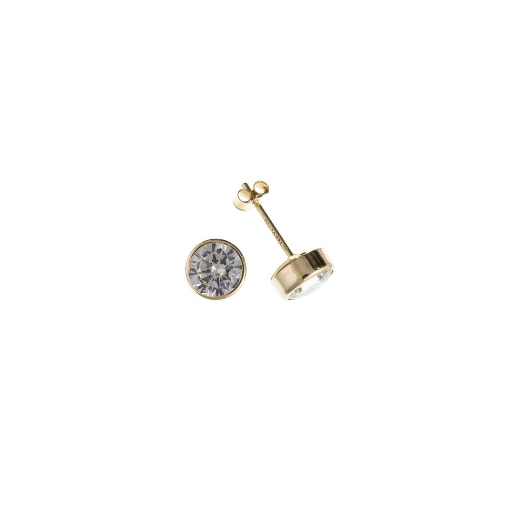 e97f18912 Hilliers 9ct Yellow Gold 4mm Rub Over Cubic Zirconia Stud Earrings