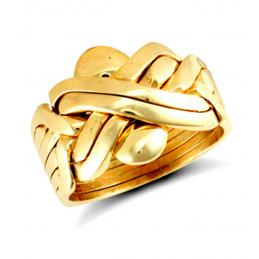 9ct Yellow Gold 24mm 6 Piece Puzzle Ring 3fX715kR2