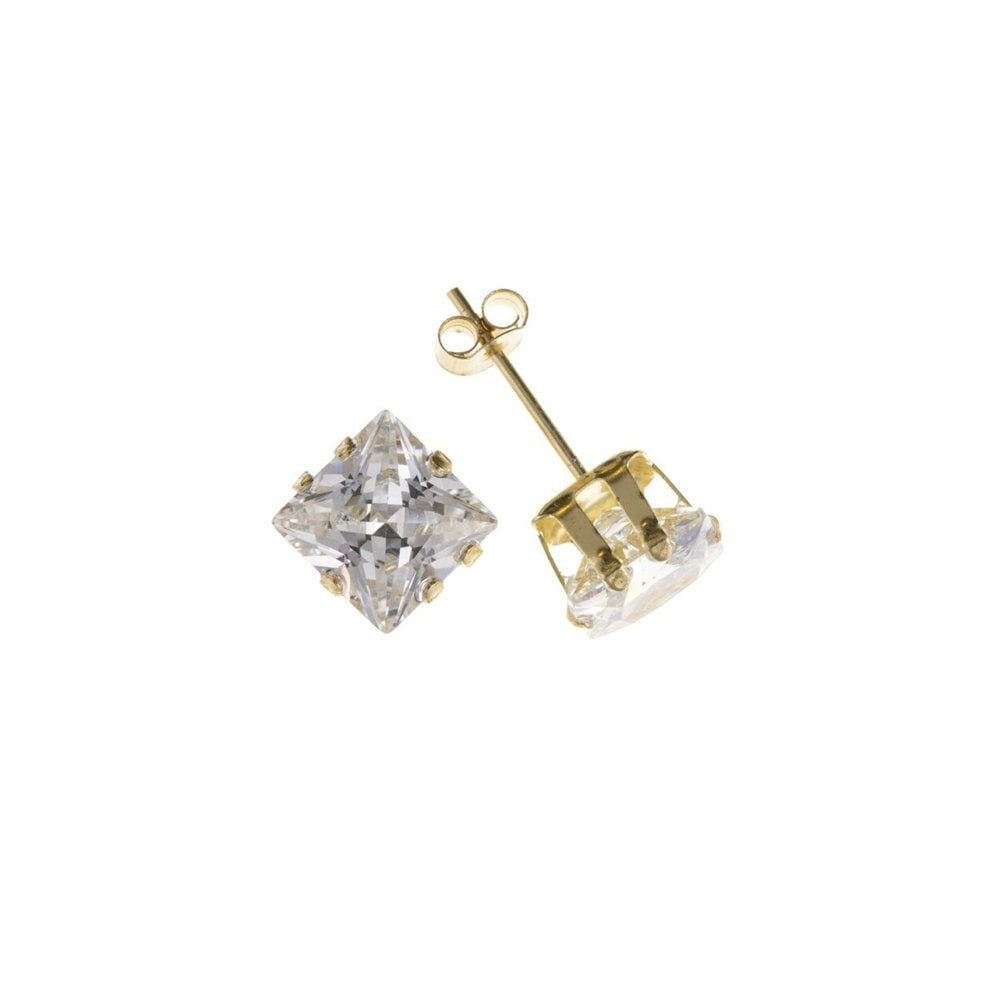 8793da250 9ct Yellow Gold 8mm Square Cubic Zirconia Stud Earrings - Jewellery ...