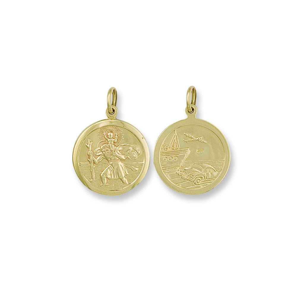 6b0b5d903 9ct Yellow Gold Double Sided St Christopher Pendant - Jewellery from ...