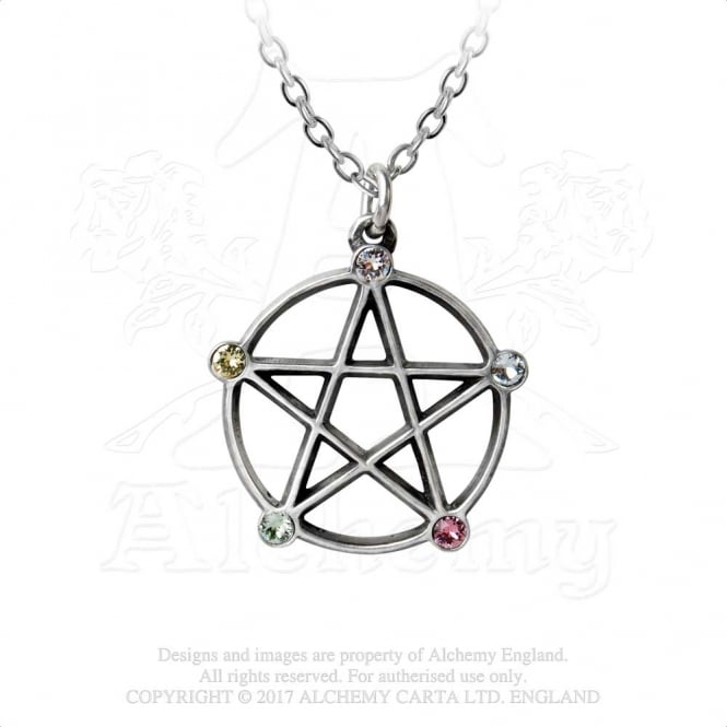 Alchemy Gothic Wiccan Elemental Pentacle Pendant P786