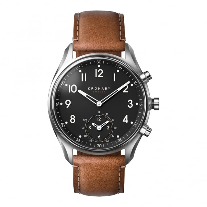 Apex S/Steel Case Brown Leather Strap Watch A1000-0729