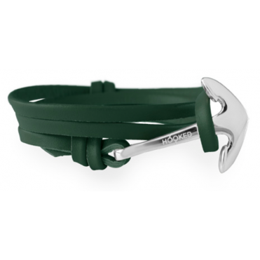 Army Green Leather & Silver Bracelet ASL5