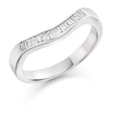 The Raphael Collection Baguette Cut .20ct Curved Half Eternity Ring HET1436
