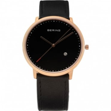 Bering Gent's Classic Black Leather Watch 11139-462
