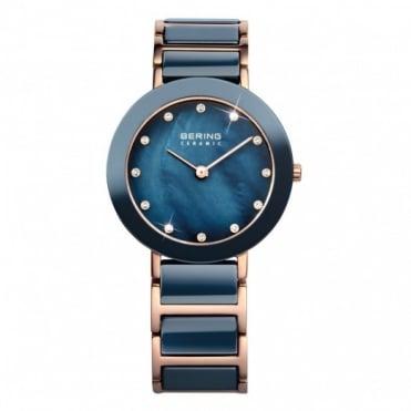 Bering Ladies' Blue Ceramic Rose Gold Watch 11429-767