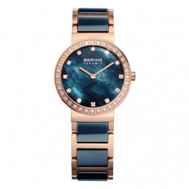 Bering Ladies' Blue Ceramic Watch 10729-767