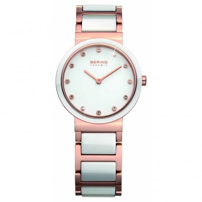 Ladies' Rose Plate and White Ceramic Watch 10729-766