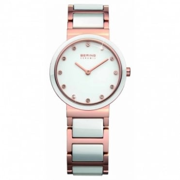 Bering Ladies' Rose Plate and White Ceramic Watch 10729-766