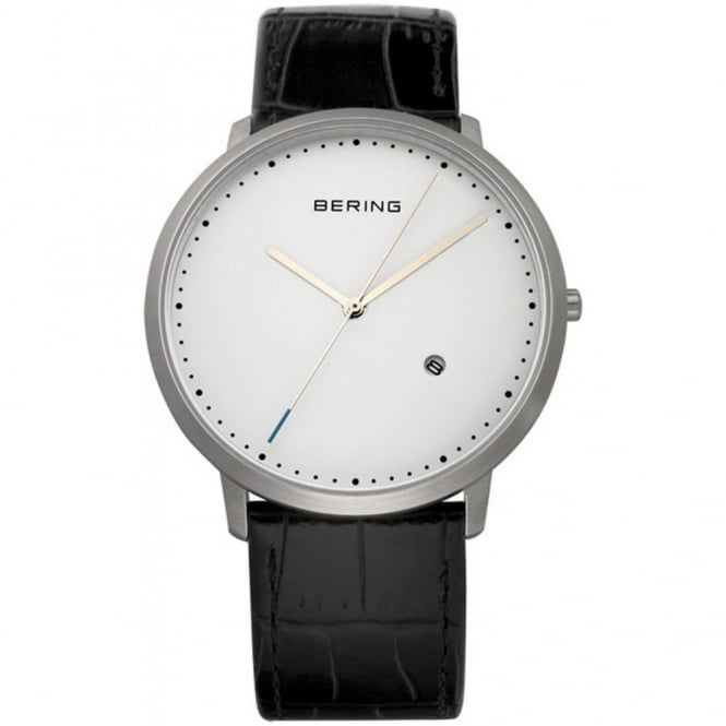 Mens Classic Black Leather Watch 11139-404