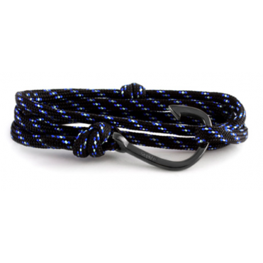Black, Blue, White Paracord & Black Bracelet HBR92