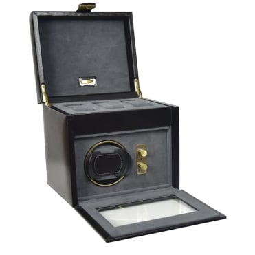 Black Leather 1pc Watch Winder & 3pc Watch Holder 70868