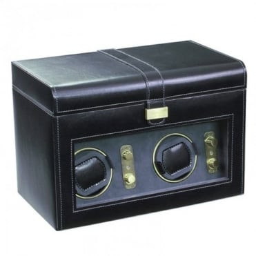 Black Leather 2pc Watch Winder & 5pc Watch Holder 70869