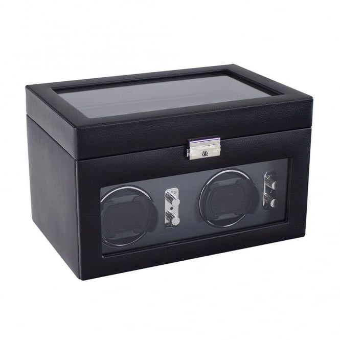 Black Leather 2pc Watch Winder 70257