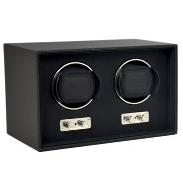 Black Leather 2pc Watch Winder 71118